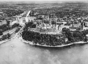 View of Parliament Hill and the Rideau Canal, 1950. Source: NCC